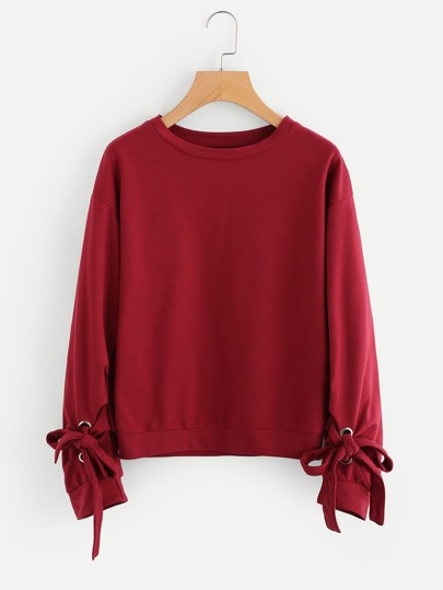 Grommet Tie Detail Drop Shoulder Sweatshirt