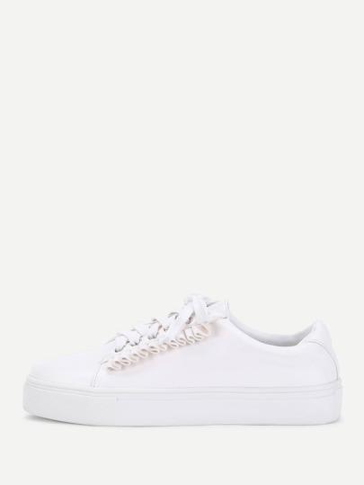 Chaussures de sport en PU à lacets à volants
