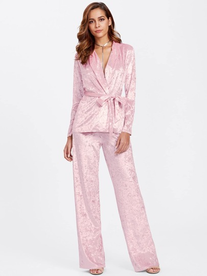 Crushed Velvet Wrap Top & Pants Pajama Set