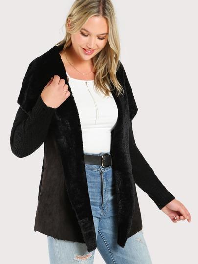 Faux Fur Lined Sweater BLACK