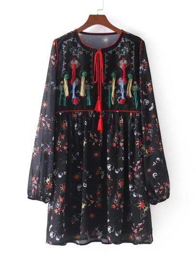 Fringe & Pom Decor Calico Print Dress