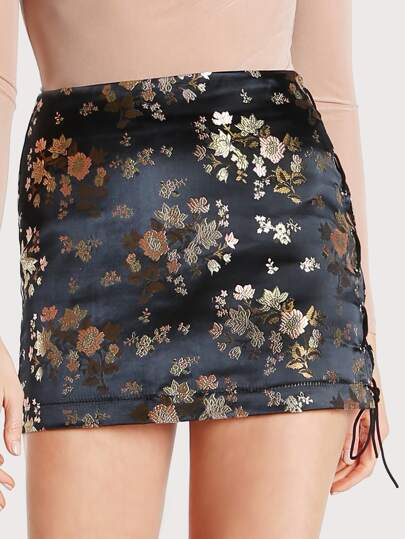 Satin Jacquard Mini Skirt BLACK