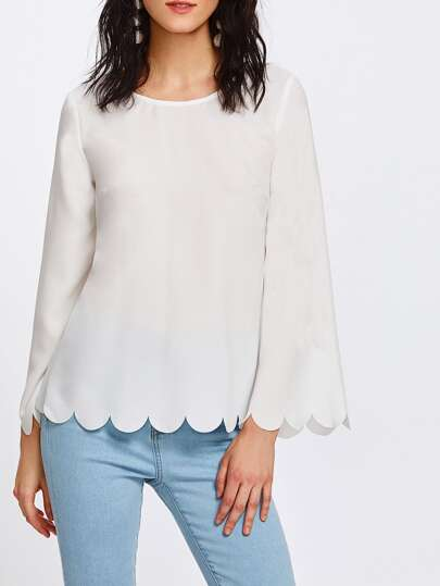 Bell Sleeve Bow Detail Overlap Back Scalloped Top
