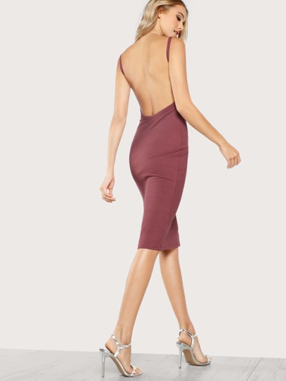 Low Back Ribbed Tank Bodycon Dress GINGER