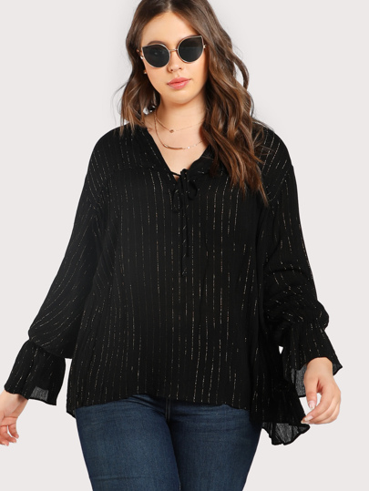 Glitter Striped Long Sleeve Taupe BLACK