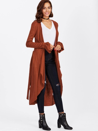 Ruffle Cuff Surplice Wrap Coat