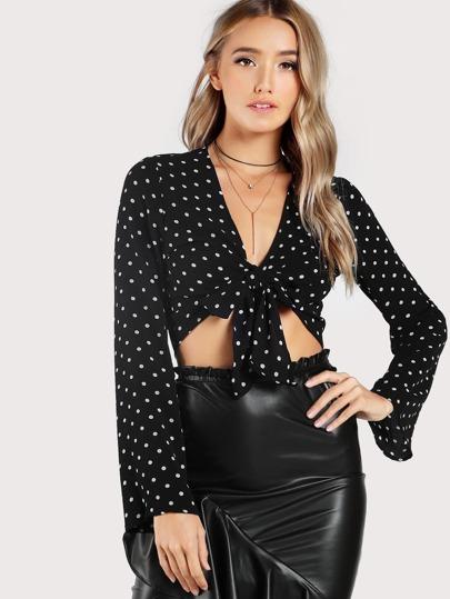 Long Sleeve Polka Dot Self Tie Top BLACK