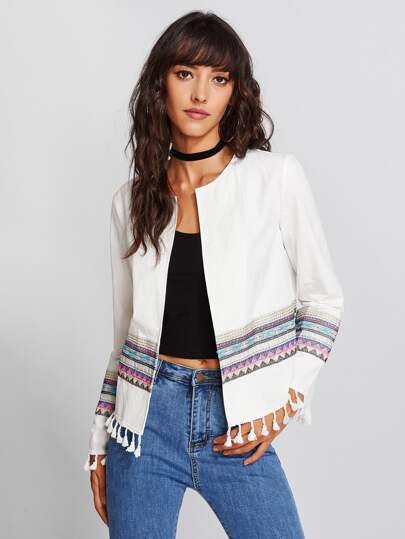 Tassel Detail Tribal Embroidered Open Front Jacket
