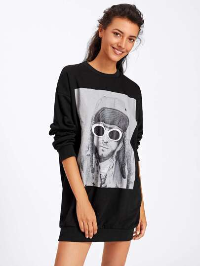 Graphic Print Sweatshirt Dress