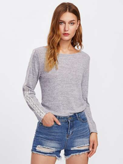 Lace Applique Marled Knit T-shirt