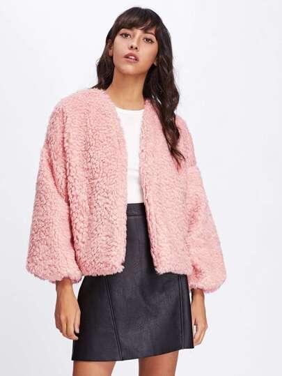 Drop Shoulder Faux Fur Coat
