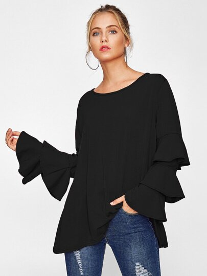 Tiered Fluted Sleeve Tee