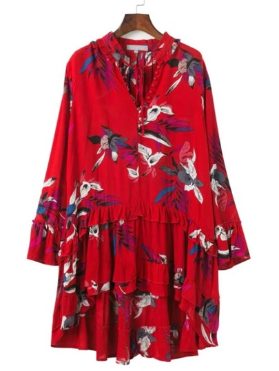 Floral Print Tied V Neckline Dip Hem Dress