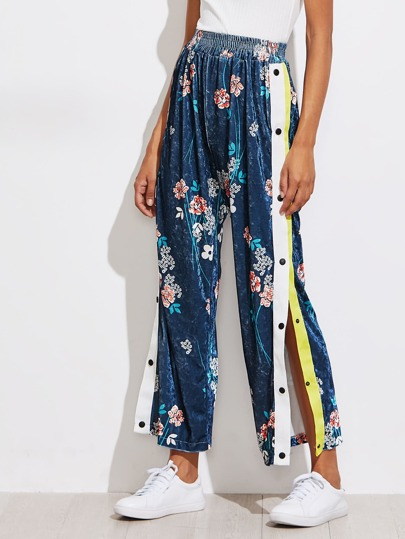 Botanical Print Split Side Velvet Wide Leg Pants
