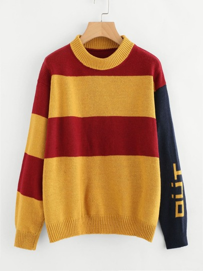 Color Block Graphic Knit Sweater