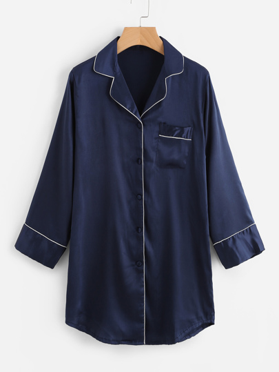 Contrast Trim Satin Pyjama Shirt Dress