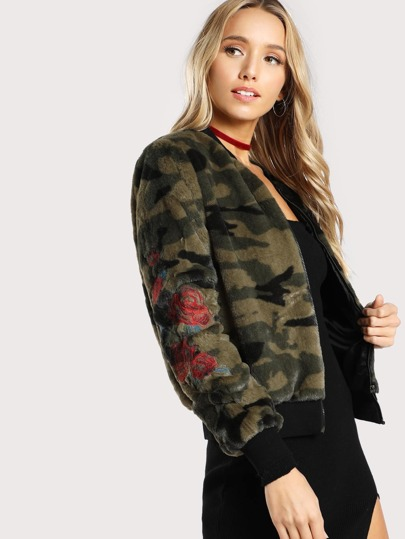 Faux Fur Rose Embroidered Bomber Jacket OLIVE