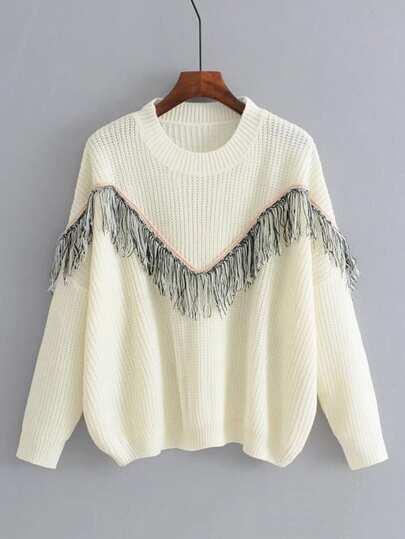 Fringe Insert Drop Shoulder Sweater