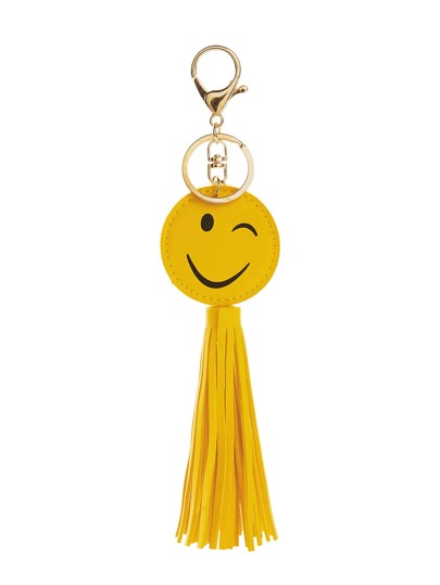 ميدالية مفاتيح اللون الاصفر بطباعة سمايل