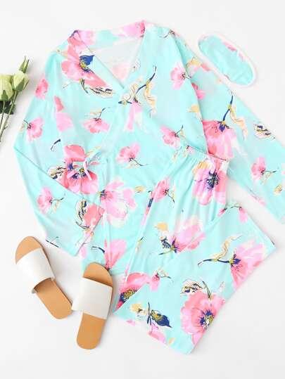 Botanical Print V Neckline Pajama Set