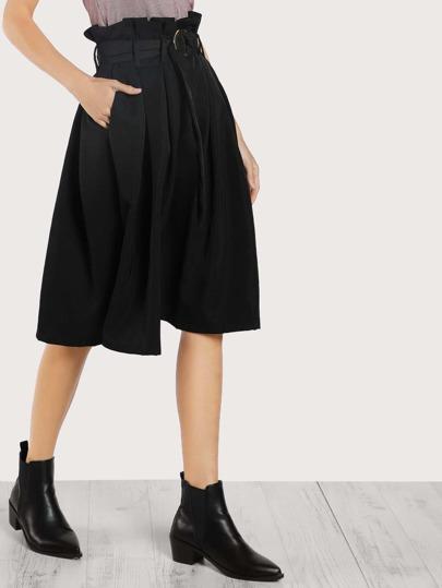Pleated O Ring Skirt BLACK