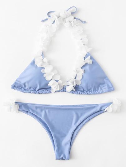 Self Tie Flower Halter Bikini Set