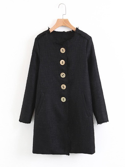 Frayed Edge Longline Tweed Coat
