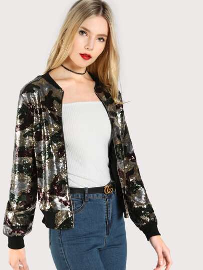 Sequin Multi Print Jacket GREEN