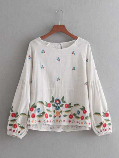 Lantern Sleeve Embroidery Blouse