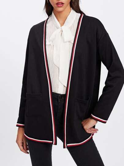 Striped Trim Open Front Knit Coat