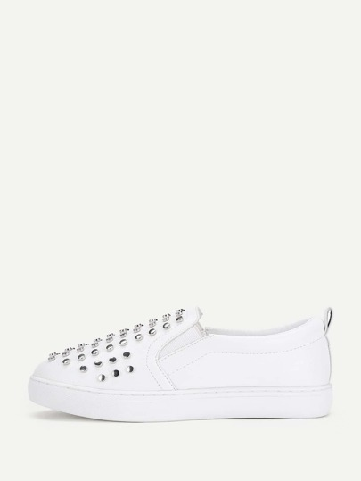Studded Decorated PU Slip On Sneakers