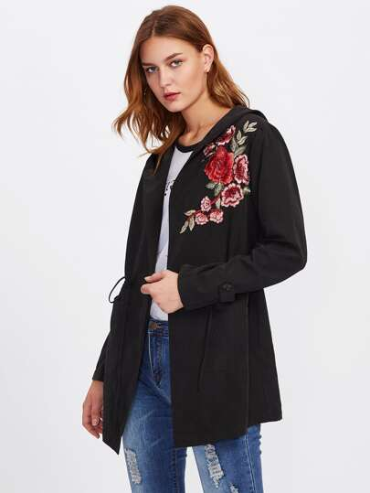 Embroidered Patched Hoodie Coat