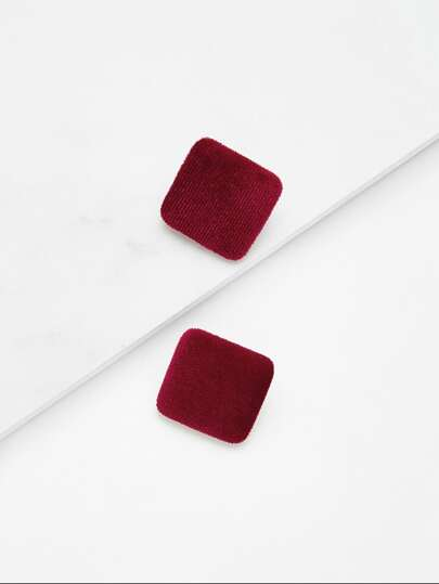 Velvet Square Stud Earrings