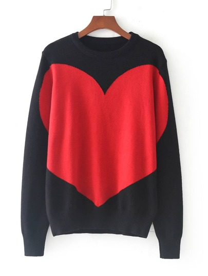 Oversize Heart Print Sweater