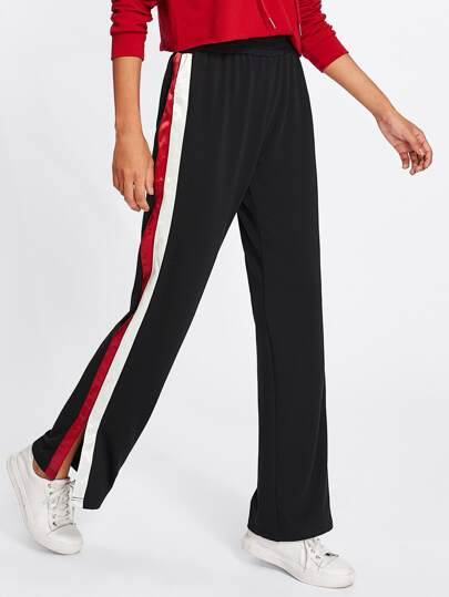 Striped Slit Side Pants