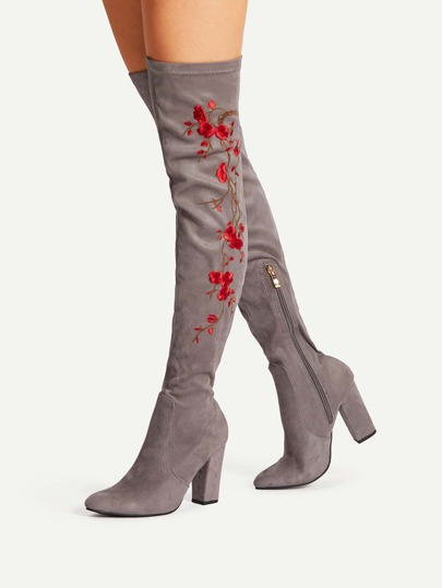Floral Embroidery Block Heeled Over The Knee Boots