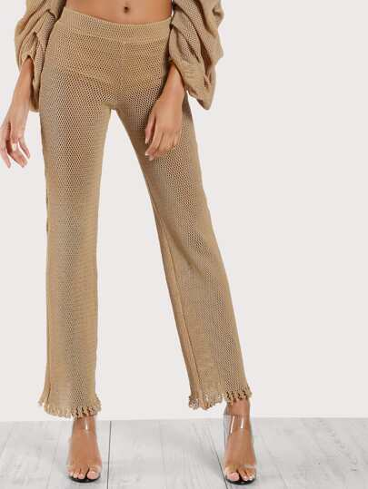 Knitted Flare Leg Pants MOCHA