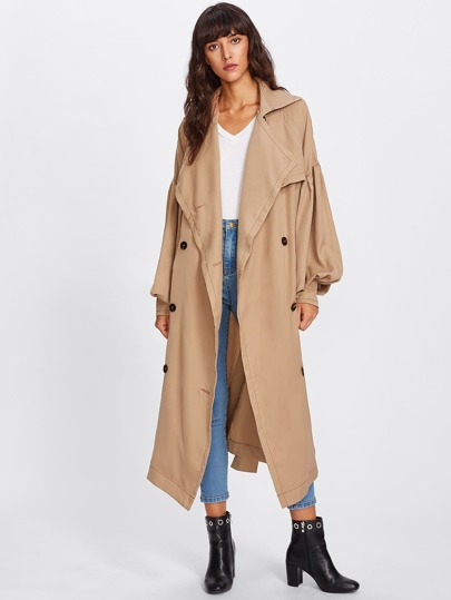 Oversized Collar Bishop Sleeve Trench Coat