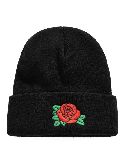 Embroidered Rose Beanie Hat