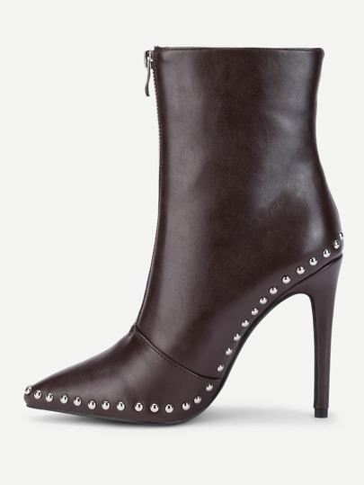 Studded Trim Stiletto Boots