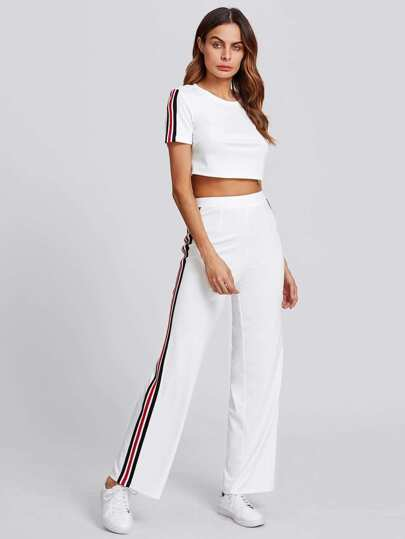 Striped Side Crop Top & Pants Set