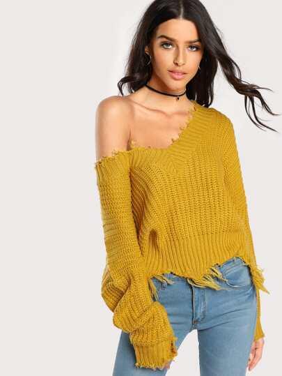 Distressed Rib Knit Sweater MUSTARD