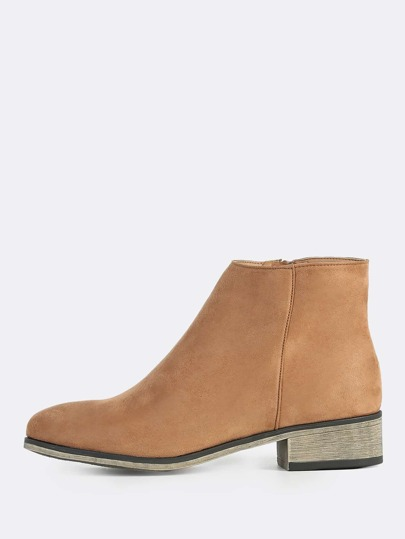 Round Toe Faux Suede Zip Up Boots CAMEL