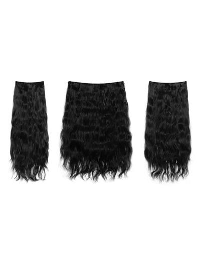 3 piezas de extensión del pelo rizado negro natural