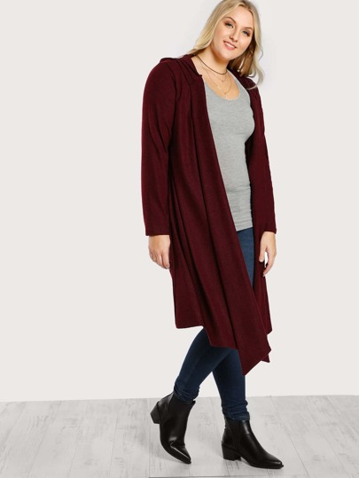 Hooded Soft Knit Longline Cardigan