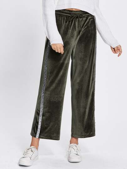 Side Panel Drawstring Waist Velvet Pants