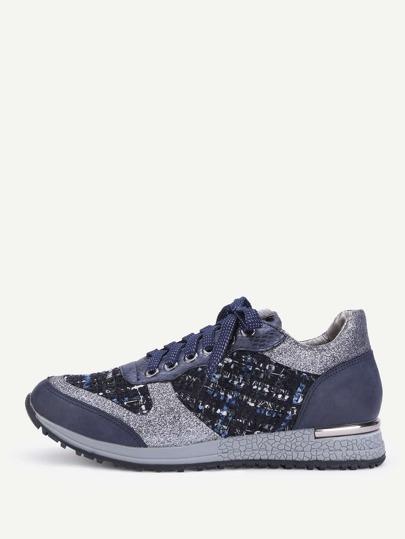 Chaussures de sport en tweed à lacets