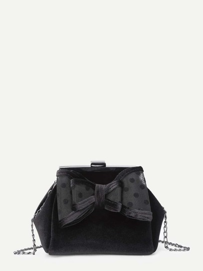 Layered Bow Front Chain Crossbody Bag
