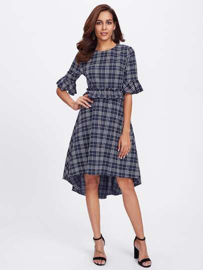 Ruffle Cuff And Waist Grid Dip Hem Dress