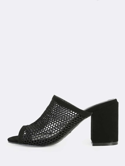 Fishnet Peep Toe Mules BLACK